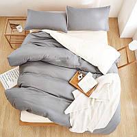 Однотонное  Турецкое постельное белье Премиум класса серый/белый