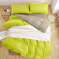 Однотонное  Турецкое постельное белье Премиум класса зеленый/серый Люкс-сатин