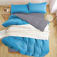 Дизайнерское  Турецкое постельное белье Премиум класса голубой/серый Люкс-сатин Евро