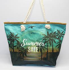 Женская тканевая пляжная сумка с канатными ручками и ярким рисунком пляжного пейзажа