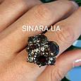 Изумительное кольцо с натуральным раух топазом из серебра  с черным родием - Кольцо раух топаз серебро 925, фото 10