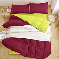 Турецкое постельное белье из шелковых нитей Евро  марсал /оливка