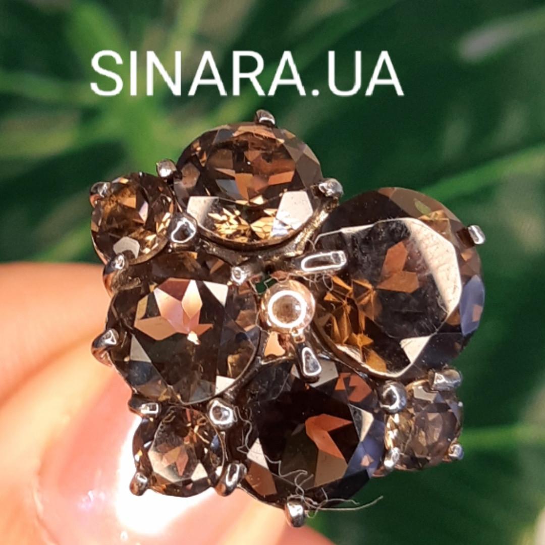 Изумительное кольцо с натуральным раух топазом из серебра  с черным родием - Кольцо раух топаз серебро 925