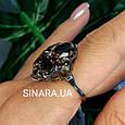 Изумительное кольцо с натуральным раух топазом из серебра  с черным родием - Кольцо раух топаз серебро 925, фото 5