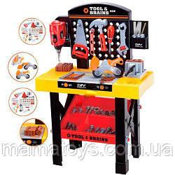 Детский Игровой набор инструментов M 0447 с верстаком  35 предметов, дрель механическая