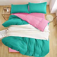 Турецкое постельное белье из шелковых нитей Евро мята/розовый