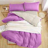 Турецкое постельное белье Премиум Класса Евро розовый/ серый