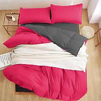 Качественный комплект однотонного постельного белья Турция Люкс-сатин розовый/серый