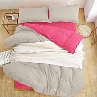 Модный комплект однотонного постельного белья Турция Люкс-сатин Евро серый/розовый