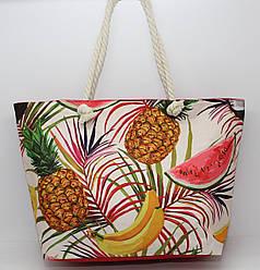 Женская тканевая пляжная сумка с канатными ручками и ярким рисунком экзотических фруктов