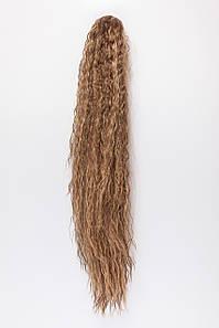 Волнистый шиньон на крабе №12. цвет мелирование темно-русый с пшеничным