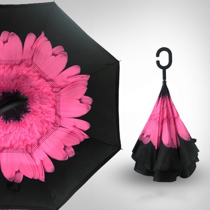Зонт | Ветрозащитный обратный зонт | Зонтик цветной обратного сложения Rainscence
