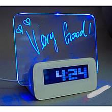 Цифровые часы | Часы настольные электронные с подсветкой и Led доской
