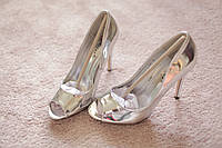 Женские туфли серебро шпилька лак классика мода хит 37 и 39 размер