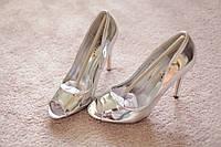 Женские туфли серебро шпилька лак классика мода хит 36-39