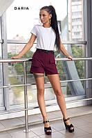 Женские марсаловые шорты с поясом