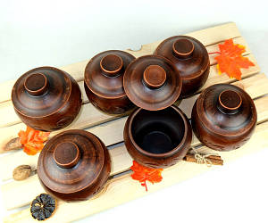 Горшочки для запекания 6 шт из красной керамики с узором