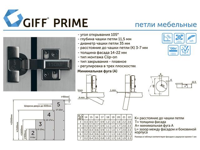 Фотографія сос хемой петлі ПЕТЛЯ НАКЛАДНА C ДОВОДЧИКОМ CLIP-ON GIFF PRIME D=35 і H=0 НІКЕЛЬ