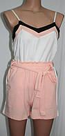 Женский костюм майка и шорты, персиковый с белым, фото 1