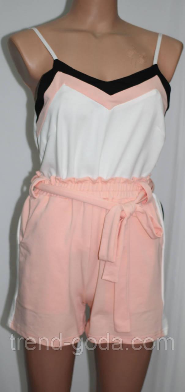 Женский костюм майка и шорты, персиковый с белым