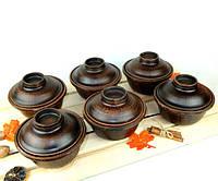 Горшочки для запекания 6 шт из красной керамики