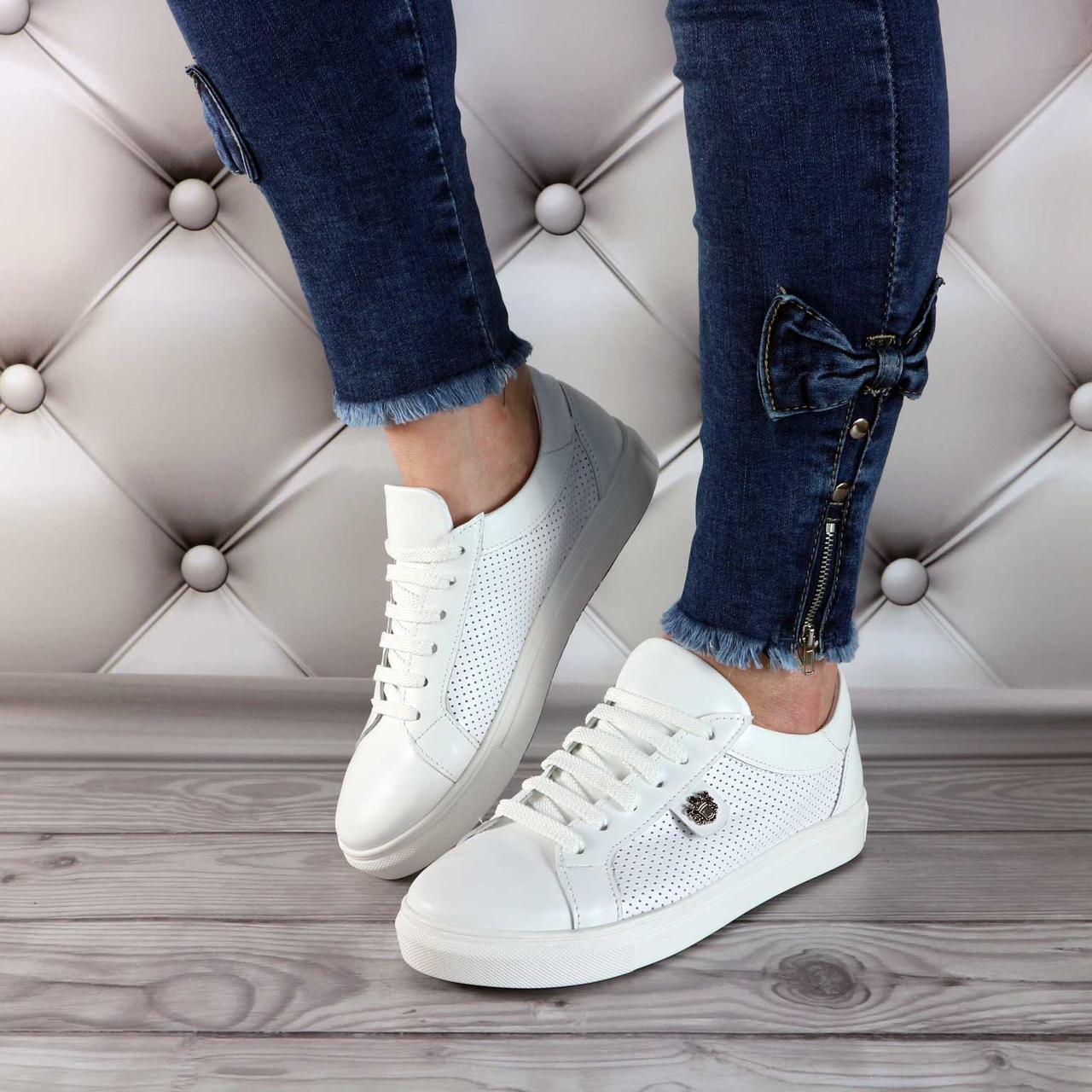 Женские кожаные кроссовки на шнуровке , белые  V 1115