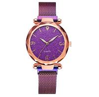 Женские фиолетовые часики с ярким переливающимся циферблатом  и стальным браслетом на  магните