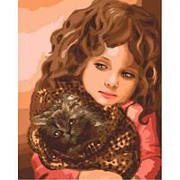 """Картина по номерам """"Малышка с котёнком"""" (кошка, ребенок, коты)"""