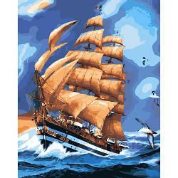 """Картина по номерам """"Во время грозы"""" (море, корабль, шторм) 40*50см"""