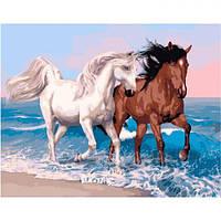 """Картина по номерам """"Бег времени"""" (лошадь, животное, море, волны)"""