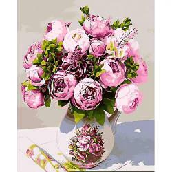 """Картина по номерам """"Сладкий аромат пионов"""" (цветы, букет, ваза, натюрморт)"""