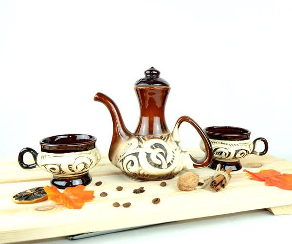 Кофе вдвоем - турка в восточном стиле с чашками 300 мл + рассекатель