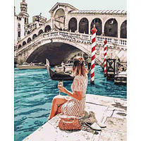 """Картина по номерам """"Влюблена в Венецию"""" (девушка, лодка, мост)"""