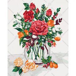 """Картина по номерам """"Сладкий привкус праздника"""" (букет, цветы, натюрморт, ваза)"""
