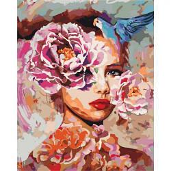 """Картина по номерам """"Женская фантазия"""" (цветы, попугай, девушка, птицы)"""