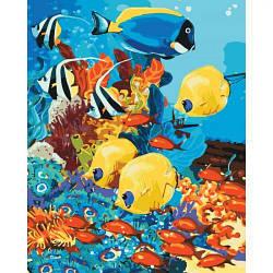 """Картина по номерам """"Морское царство"""" (рыбы, подводный мир, море, кораллы)"""