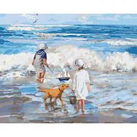 """Картина по номерам """"Играя с волнами"""" (море, собака, дети)"""