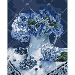 "Картина по номерам ""Утро у бабушки"" (цветы, ягоды, натюрморт, ваза)"