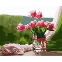 """Картина по номерам """"Идеальное утро"""" 40*50см (цветы, ваза, рассвет, тюльпаны)"""