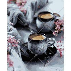 "Картина по номерам ""Кофе на двоих"" (романтика, натюрморт) 5548"