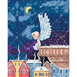 Картина по номерам - Ангелочек 2 40*50 см (ночь, ребенок, город, зима)