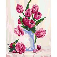 """Картина по номерам """"Нежность в вазе"""" (цветы, натюрморт, ваза, букет)"""
