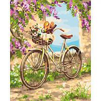 """Картина по номерам """"Деревенское утро"""" (сирень, велосипед)"""