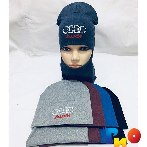 Детский комплект шапочка и хомут для мальчиков р-р 50-52 (5 ед в уп)