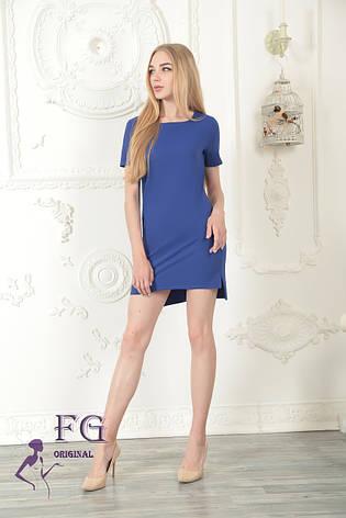 """Летнее легкое прямое платье с коротким рукавом длиннее сзади """"Невада"""" синее, фото 2"""