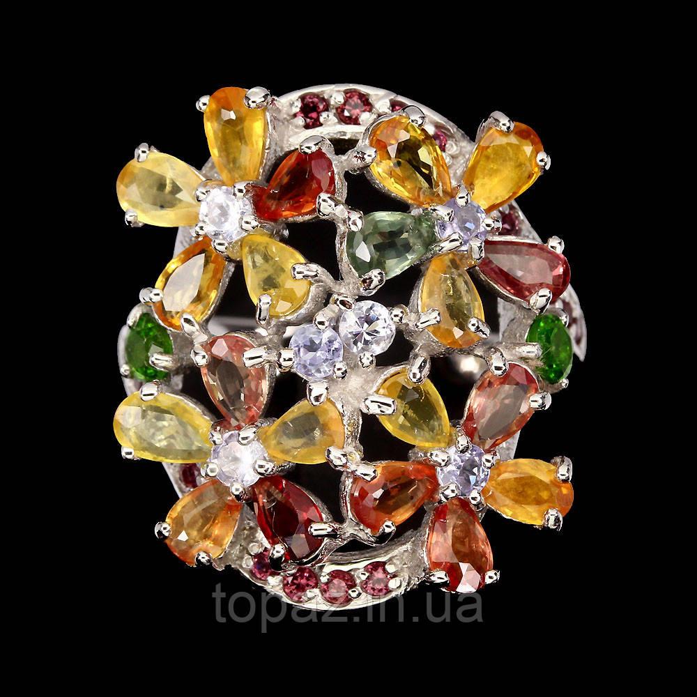 Кольцо серебряное 925 натуральный мульти - сапфир, родолит гранат.
