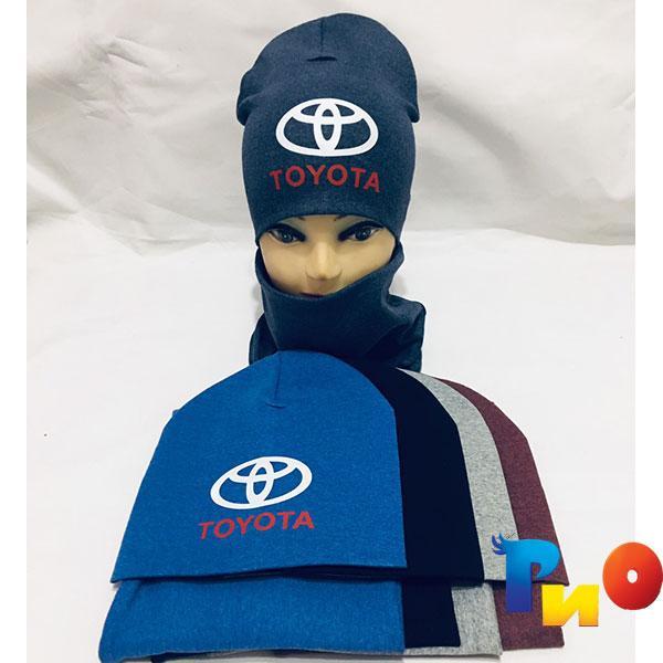 """Детский комплект """"TOYOTA""""шапочка и хомут для мальчиков р-р 50 (5 ед в уп)"""