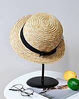 Модная соломенная летняя женская шляпа канотье с черным бантом