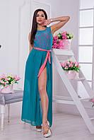 Платье женское макси. Шифон. Бирюза 44-46 р., фото 1