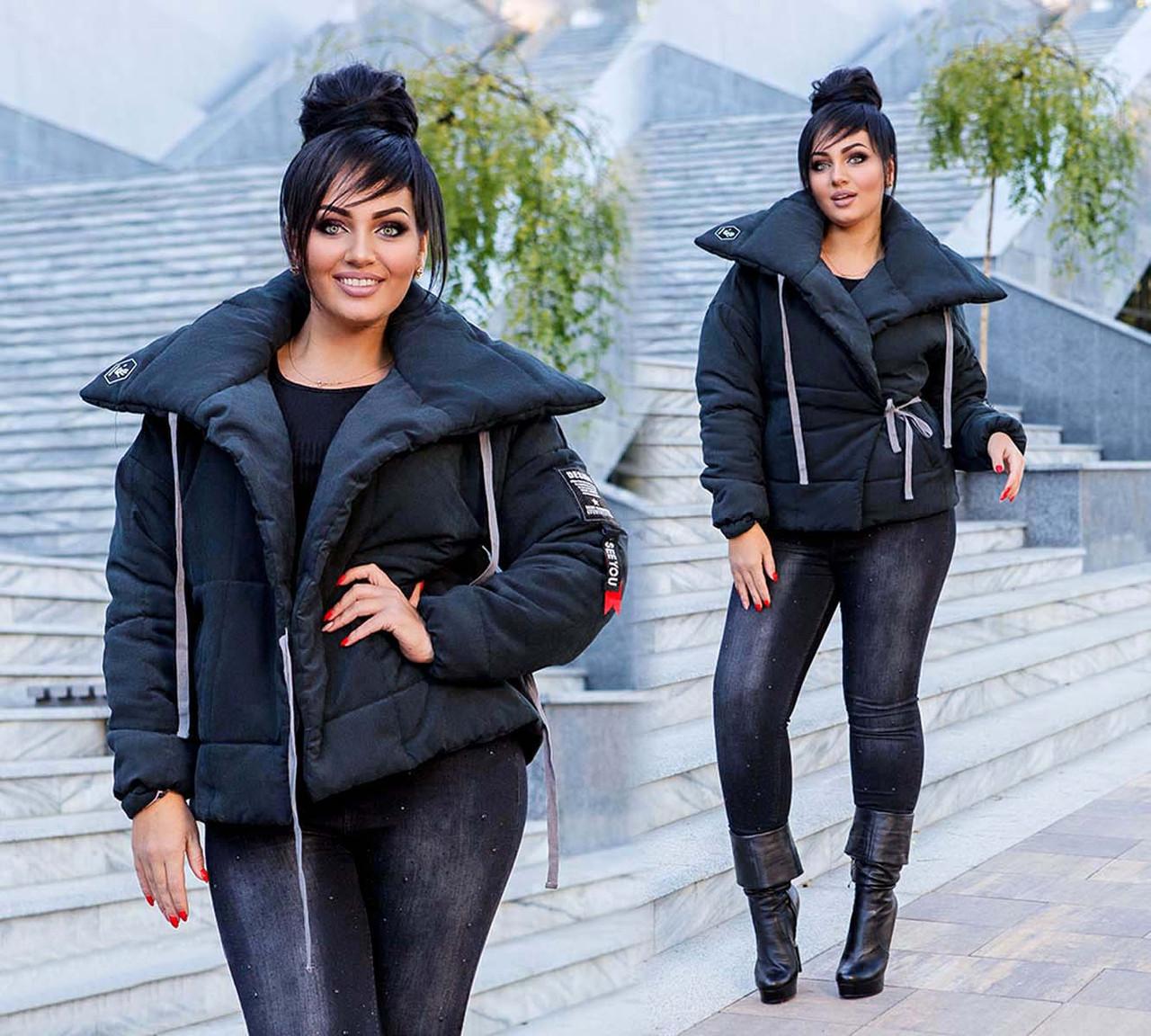 """Женская тёплая куртка на силиконе в больших размерах """"Парка Завязки"""" в расцветках (DG-с499-1)"""